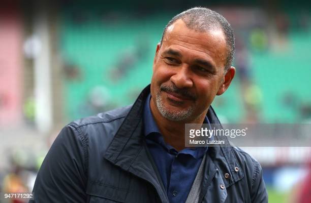 Ruud Gullit before the serie A match between AC Milan and SSC Napoli at Stadio Giuseppe Meazza on April 15 2018 in Milan Italy