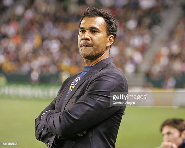 Ruud Gullit Coach of the Los Angeles Galaxy looks on during their MLS game against the New York Red Bulls at Home Depot Center on May 10, 2008 in...