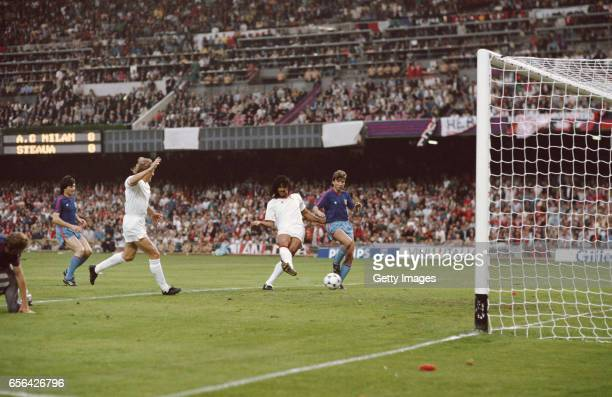 Ruud Gullit of AC Milan scores his first goal during the European Cup Final against Steaua Bucharest at the Nou Camp Stadium in Barcelona Spain AC...