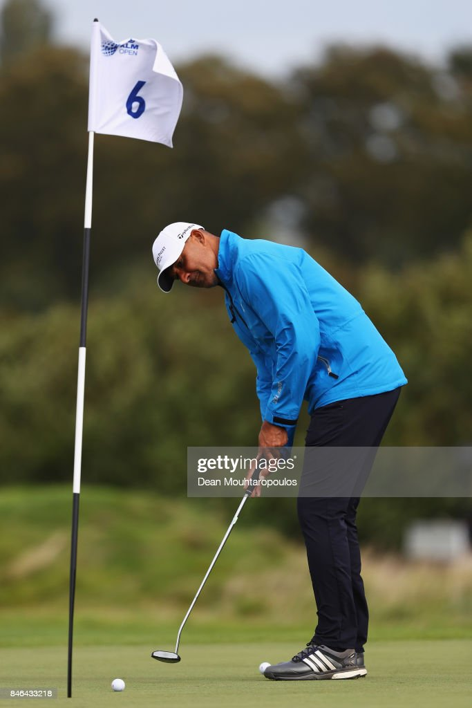 Ruud Gullit of the Netherlands hits his practice shot on the during the European Tour KLM Open ProAM held at The Dutch on September 13, 2017 in Spijk, Netherlands.
