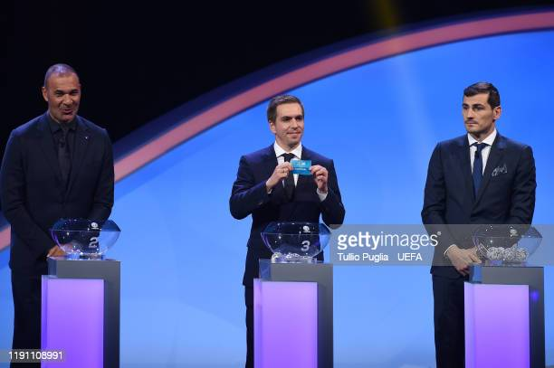 Ruud Gullit Philipp Lahm and Iker Casillas during the UEFA Euro 2020 Final Draw Ceremony on November 30 2019 in Bucharest Romania