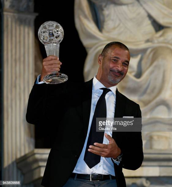 Ruud Gullit poses for a photo during an Italian Football Federation Hall Of Fame event on April 9 2018 in Florence Italy