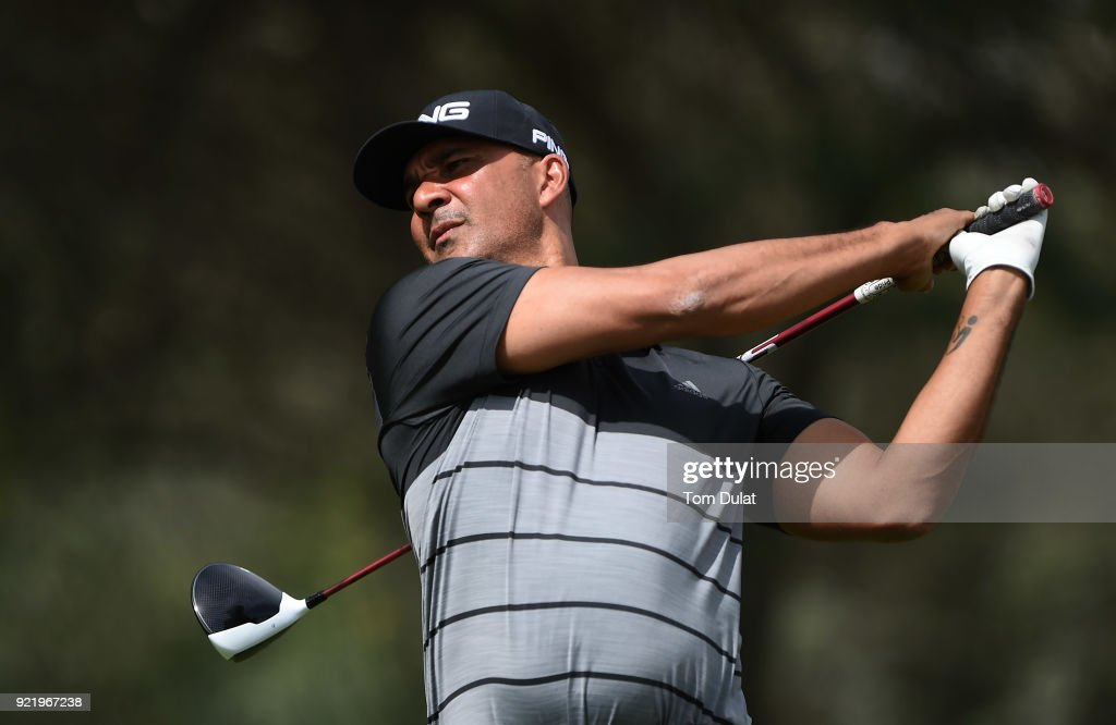 Ruud Gullit tees off prior to the Commercial Bank Qatar Masters at Doha Golf Club on February 21, 2018 in Doha, Qatar.