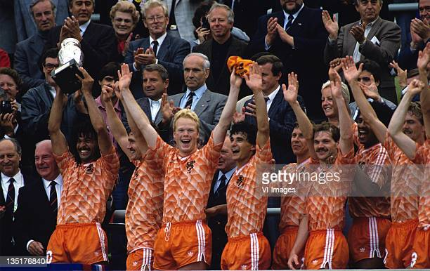 Ruud GullitBerry van AerleRonald KoemanGerald VanenburgArnold MuhrenJan WoutersAdri van Tiggelen during the European Championship final between...
