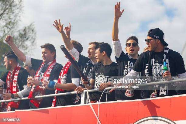 Ruud Hesp of PSV, Luuk de Jong of PSV, Daniel Schwaab of PSV, Hirving Lozano of PSV, Santiago Arias of PSV, Maximiliano Romero of PSV leaving the...