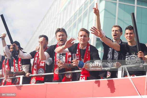 Ruud Hesp of PSV Luuk de Jong of PSV Daniel Schwaab of PSV Hirving Lozano of PSV leaving the stadium during the champions parade during the PSV...