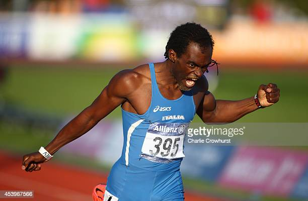 Ruud Koutiki Tsilulu of Italy wins the mens 400m T20 final during day four of the IPC Athletics European Championships at Swansea University Sports...