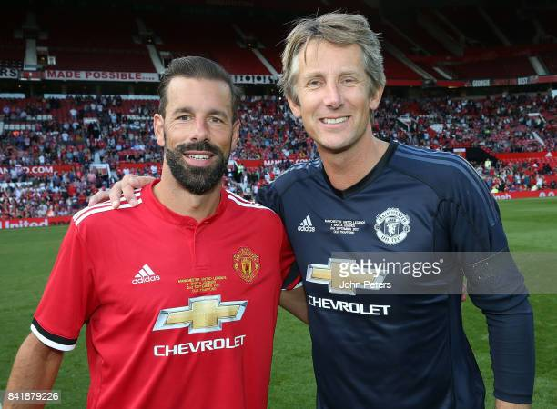 Ruud van Nistelrooy and Edwin van der Sar of Manchester United Legends shake hands after the MU Foundation charity match between Manchester United...