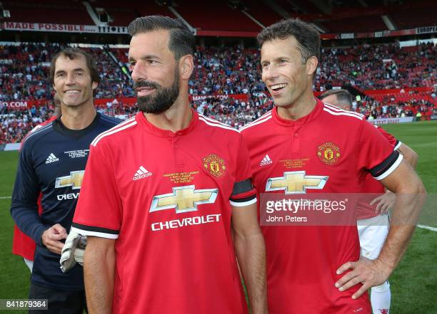 Ruud van Nistelrooy and Ronny Johnsen of Manchester United Legends pose after the MU Foundation charity match between Manchester United Legends and...