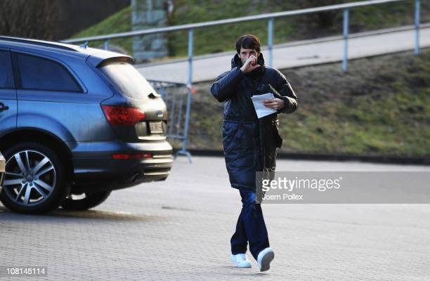 Ruud van Nistelrooy arrives prior to the training session of Hamburger SV on January 19, 2011 in Hamburg, Germany.