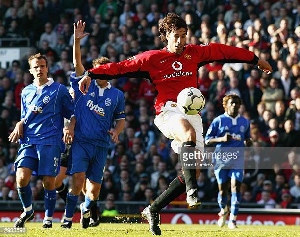 Ruud van Nistelrooy controls the ball in the penalty box during the FA Barclaycard Premiership match between Manchester United v Birmingham City at...