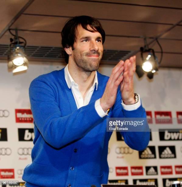 Ruud Van Nistelrooy gives his last press conference as Real Madrid player after the la Liga match between Real Madrid and Malaga at Estadio Santiago...