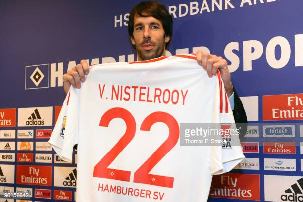Ruud van Nistelrooy looks on during the press conference of Hamburger SV at the HSH Nordbank Arena on January 25 2010 in Hamburg Germany The club...