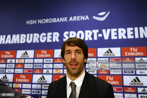 Ruud van Nistelrooy looks on during the press conference of Hamburger SV at the HSH Nordbank Arena on January 25, 2010 in Hamburg, Germany. The club...