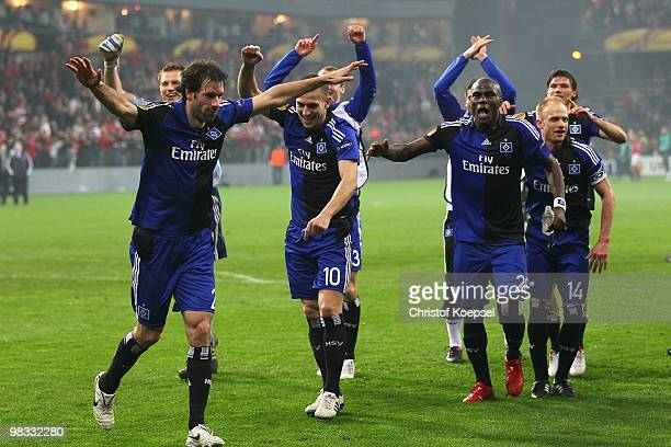 Ruud van Nistelrooy Mladen Petric and Guy Demel celebrate the 31 victory after the UEFA Europa League quarter final second leg match between Standard...