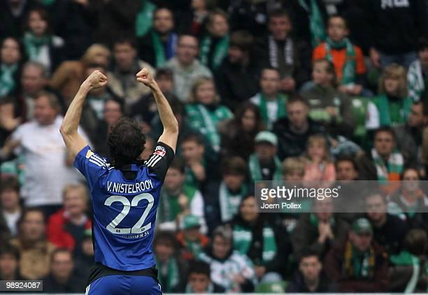 Ruud van Nistelrooy of Hamburg celebrates after scoring his team's first goal during the Bundesliga match between SV Werder Bremen and Hamburger SV...