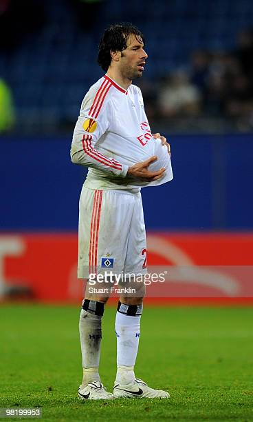Ruud van Nistelrooy of Hamburg holds the ball under his shirt during the UEFA Europa League quarter final first leg match between Hamburger SV and...