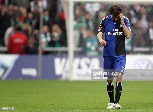 Ruud van Nistelrooy of Hamburg looks dejected after the Bundesliga match between SV Werder Bremen and Hamburger SV at Weser Stadium on May 8, 2010 in...