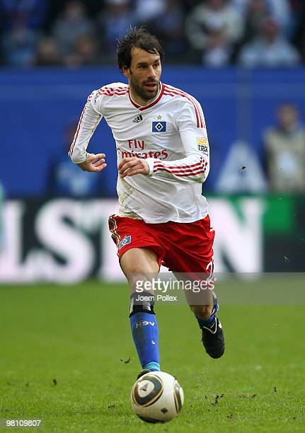 Ruud van Nistelrooy of Hamburg plays the ball during the Bundesliga match between Hamburger SV and FC Schalke 04 at HSH Nordbank Arena on March 21,...