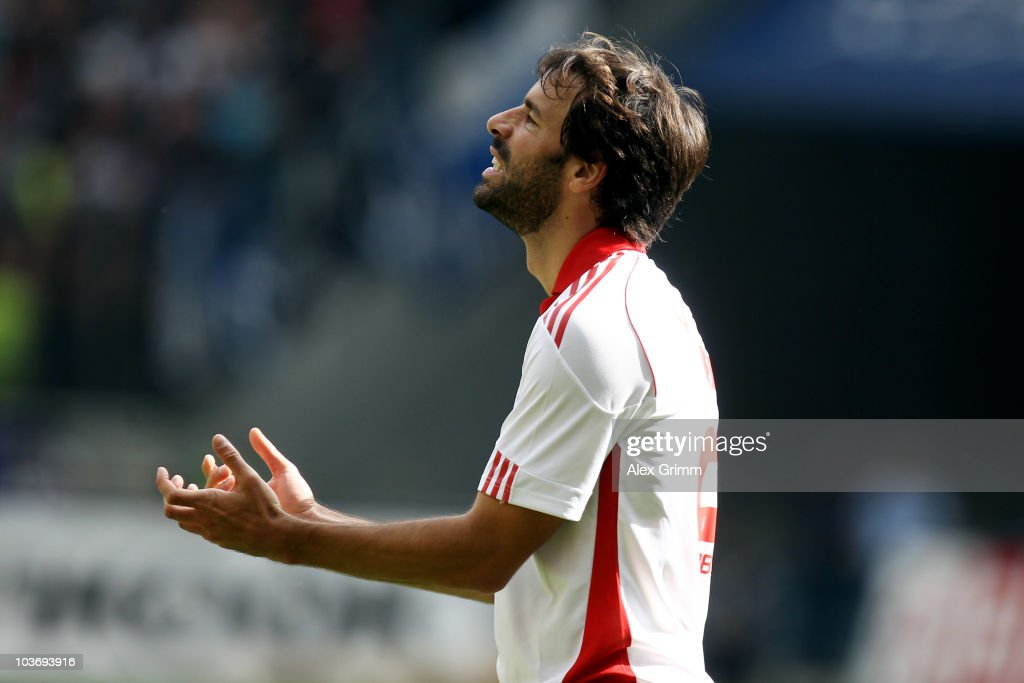 Ruud van Nistelrooy of Hamburg reacts during the Bundesliga match between Eintracht Frankfurt and Hamburger SV at the Commerzbank Arena on August 28, 2010 in Frankfurt am Main, Germany.