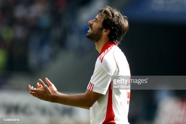 Ruud van Nistelrooy of Hamburg reacts during the Bundesliga match between Eintracht Frankfurt and Hamburger SV at the Commerzbank Arena on August 28,...