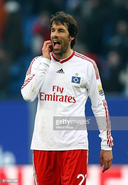 Ruud van Nistelrooy of Hamburg reacts during the Bundesliga match between Hamburger SV and Hertha BSC Berlin at HSH Nordbank Arena on March 6, 2010...