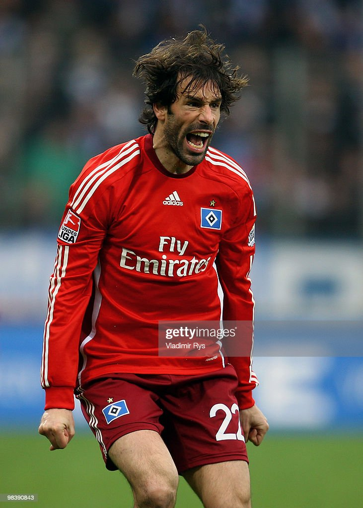 Ruud van Nistelrooy of Hamburg reacts during the Bundesliga match between VfL Bochum and Hamburger SV at Rewirpower Stadium on April 11, 2010 in Bochum, Germany.