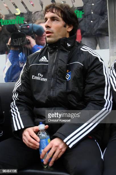Ruud van Nistelrooy of Hamburg sits on the bench during the Bundesliga match between 1 FC Koeln and Hamburger SV at the RheinEnergieStadion on...