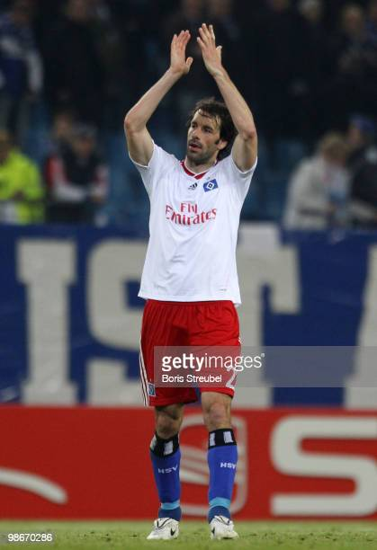 Ruud van Nistelrooy of Hamburg waves to his fans after the UEFA Europa League semi final first leg match between Hamburger SV and Fulham at HSH...