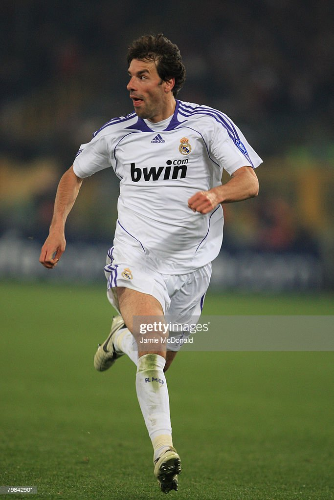 Ruud Van Nistelrooy of Madrid competes during the UEFA Champions League first knockout round, first leg match between AS Roma and Real Madrid at the Olympic Stadium February 19, 2008 in Rome, Italy.