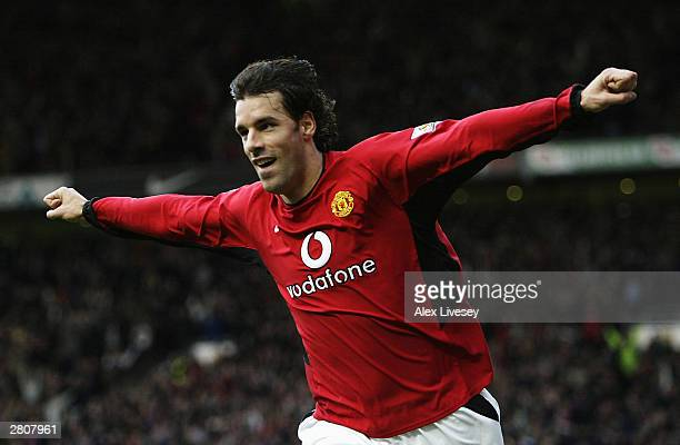 Ruud Van Nistelrooy of Man Utd celebrates after scoring the second goal during the FA Barclaycard Premiership match between Manchester United and...