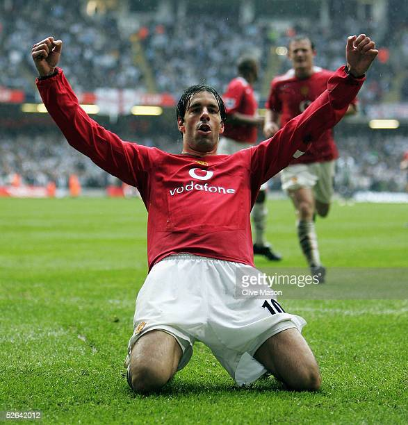 Ruud Van Nistelrooy of Manchester United celebrates scoring his teams third goal during the FA Cup Semi-Final match between Manchester United and...