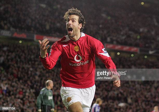 Ruud van Nistelrooy of Manchester United celebrates scoring the first goal during the Carling Cup semi-final second leg match between Manchester...