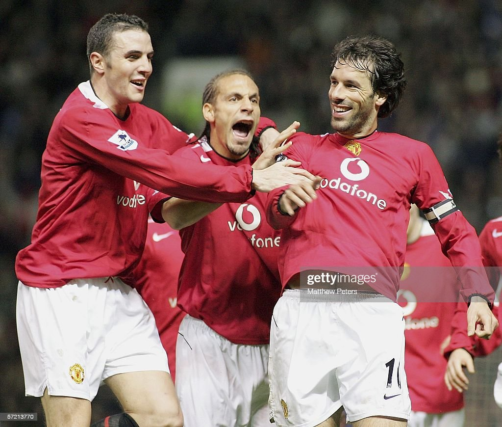 Ruud van Nistelrooy of Manchester United celebrates scoring the first goal during the Barclays Premiership match between Manchester United and West Ham United at Old Trafford on March 29 2006 in Manchester, England.