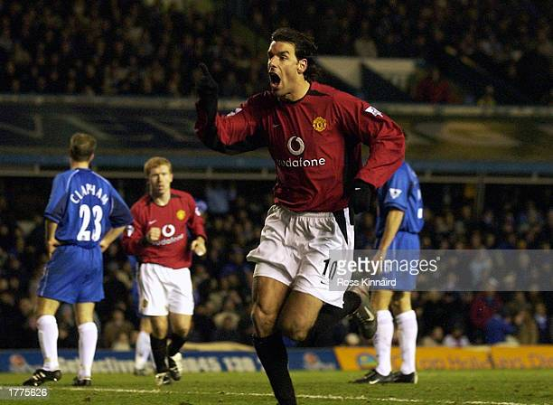 Ruud van Nistelrooy of Manchester United celebrates scoring the winning goal during the FA Barclaycard Premiership match between Birmingham City and...