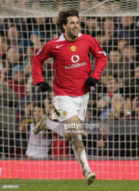 Ruud van Nistelrooy of Manchester United celebrates scoring the third goal during the Barclays Premiership match between Manchester United and West...