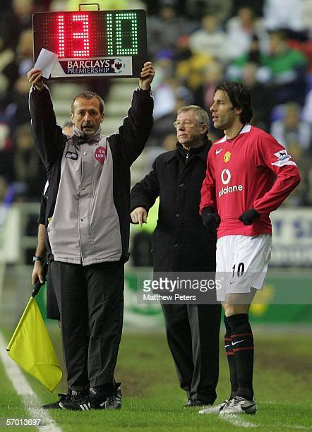 Ruud van Nistelrooy of Manchester United comes on as a substitute during the Barclays Premiership match between Wigan Athletic and Manchester United...