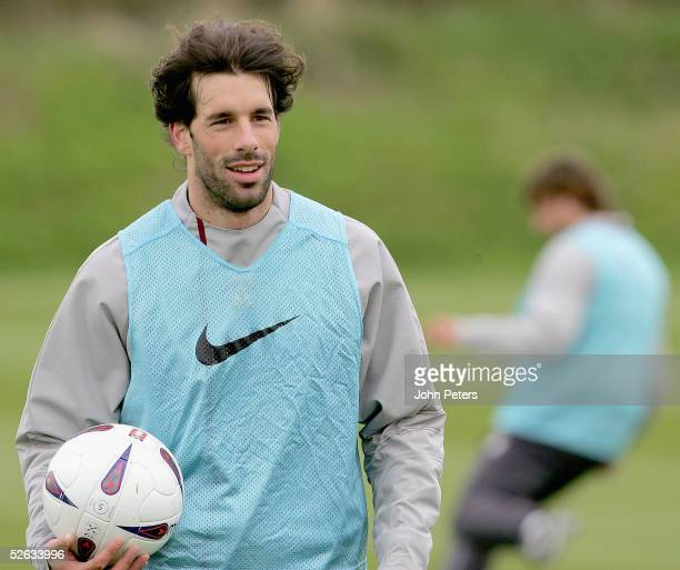 Ruud van Nistelrooy of Manchester United in action during a first team training session at Carrington Training Ground on 15 April 2005, in...