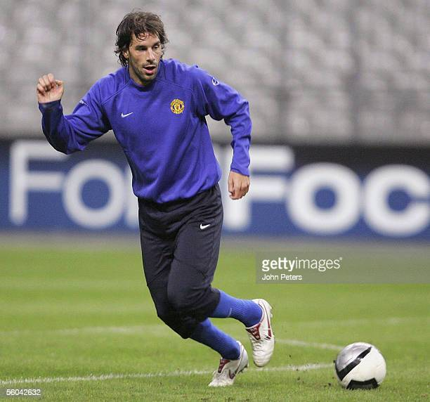 Ruud van Nistelrooy of Manchester United in action during a first team training session ahead of the UEFA Champions League match against Lille at the...