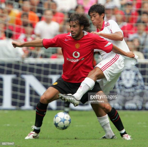 Ruud van Nistelrooy of Manchester United in action during the preseason friendly match against the Hong Kong National Team at Hong Kong National...