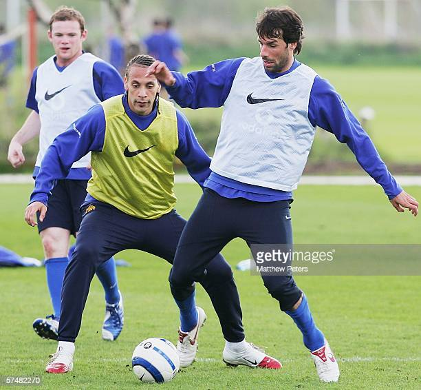 Ruud van Nistelrooy of Manchester United in action on the ball during a first team training session at Carrington Training Ground on April 28 2006 in...