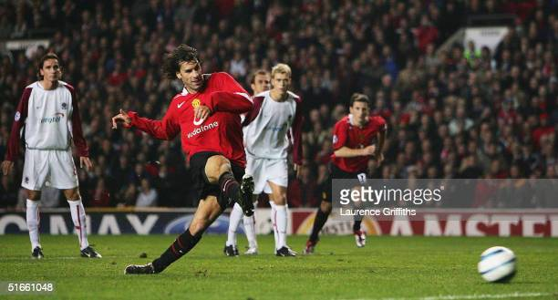 Ruud Van Nistelrooy of Manchester United scores his second goal from the penalty spot during the UEFA Champions League Group D match between...