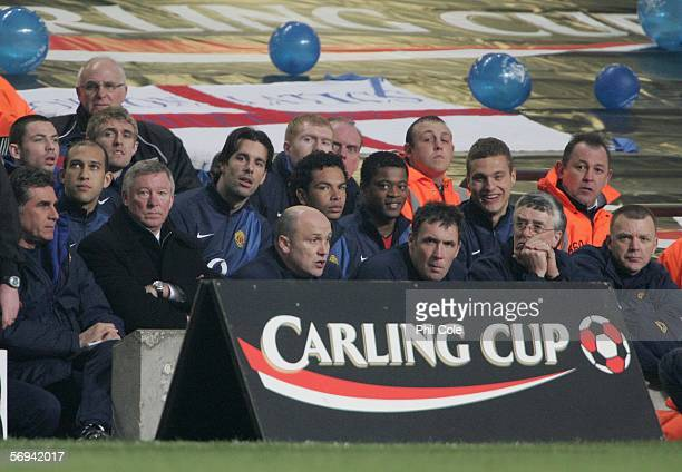 Ruud Van Nistelrooy of Manchester United watches the action from the bench during the Carling Cup Final match between Manchester United and Wigan...