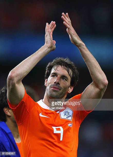Ruud van Nistelrooy of Netherlands celebrates after winning the UEFA EURO 2008 Group C match between Netherlands and France at Stade de Suisse...