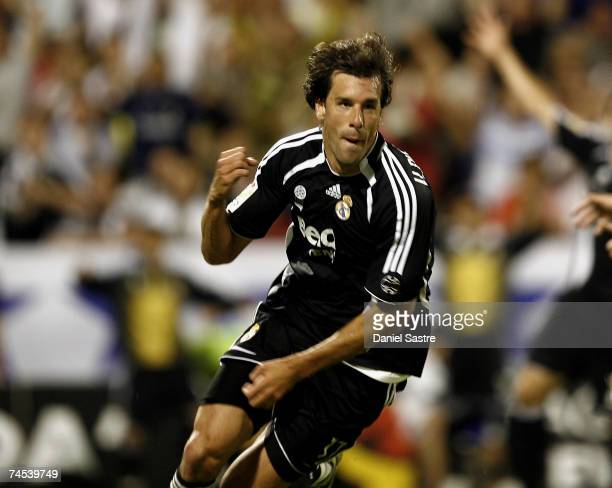 Ruud van Nistelrooy of Real Madrid celebrates a goal during the La Liga match between Real Zaragoza and Real Madrid at the Romareda stadium on June...