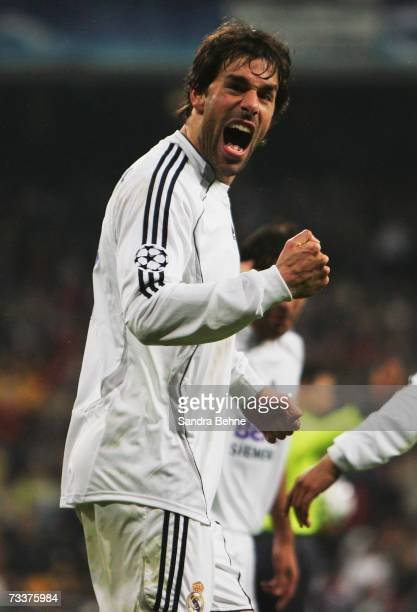 Ruud van Nistelrooy of Real Madrid celebrates after scoring forth goal during the UEFA Champions League Round of 16 first leg match between Real...