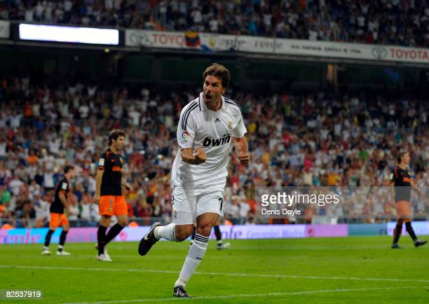 Ruud Van Nistelrooy of Real Madrid celebrates after scoring Real's first goal during the Super Copa Second Leg match between Real Madrid and Valencia...