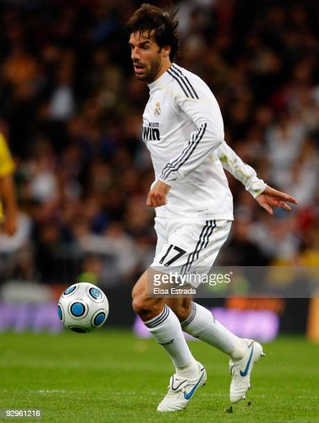 Ruud Van Nistelrooy of Real Madrid in action during the Copa del Rey match between Real Madrid and AD Alcorcon at Estadio Santiago Bernabeu on...