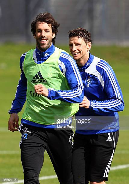 Ruud van Nistelrooy smiles during the Hamburger SV training session at HSH Nordbank Arena on April 27, 2010 in Hamburg, Germany.