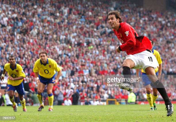 Ruud van Nistelrooy takes a penalty in the final minutes of the FA Barclaycard Premiership match between Manchester United v Arsenal at Old Trafford...